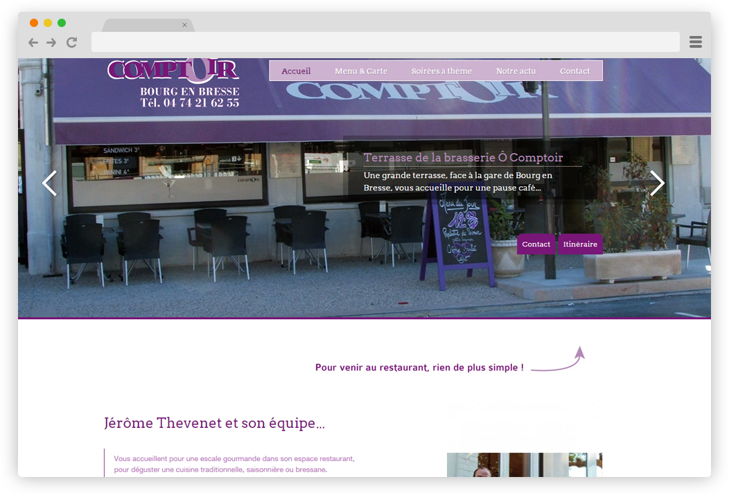 creation site internet O Comptoir restaurant Bourg en Bresse