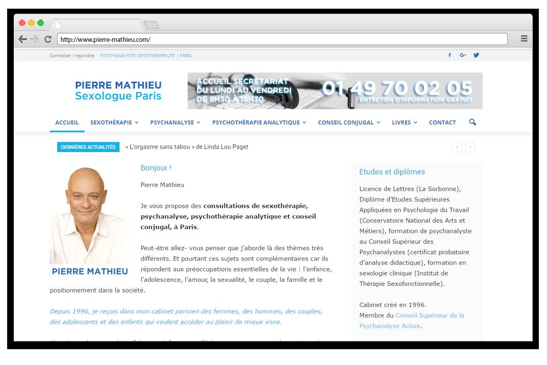 Création site internet Pierre Mathieu - Sexologue, Psychanalyste & Conseiller conjugal